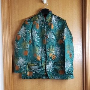 Vintage Embroidered Green Red Chinese Jacket L